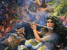 Tocando flauta en el bosque