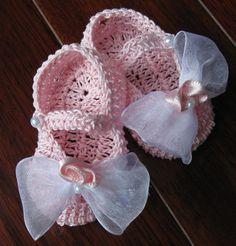 Newborn Baby Girl Booties Slippers Crib Shoes Crochet Christening Baptism Reborn #na #CribShoes