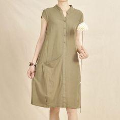 Tea green cotton shift dress linen sundress