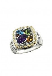 Balissima Amethyst and Blue Topaz Ring, 1.54 TCW