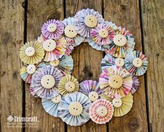 Paper flowers accordion wreath