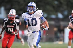 Cedar Crest's Grant Boehler makes a break for the endzone during the first half of the Cedar Bowl at Alumni Stadium on August 31, 2012. LEBANON DAILY NEWS - JEREMY LONG