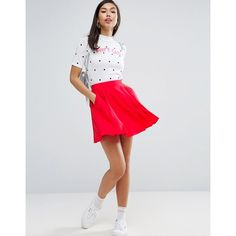 ASOS Mini Pleated Skirt (£22) ❤ liked on Polyvore featuring skirts, mini skirts, red, pleated skirt, high waisted short skirts, short red skirt, red pleated skirt and red skirt