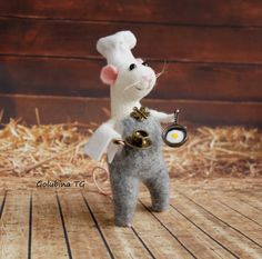 Needle felted wool white mouse chef Mouse with by WorkshopTatyanas