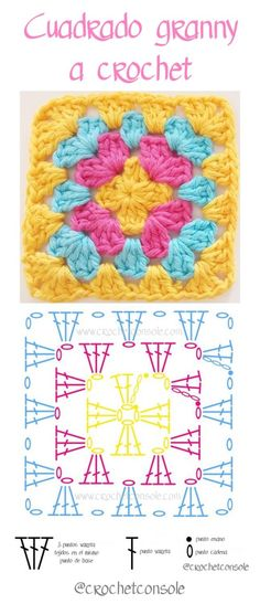 Cuadrado granny a crochet paso a paso Source by sucastroconti VEJA MAIS sucastroconti., Cuadrado granny a crochet paso a paso con video tutorial, # ✂❤ Granny Square Crochet Pattern, Crochet Flower Patterns, Crochet Chart, Crochet Squares, Crochet Blanket Patterns, Crochet Motif, Crochet Designs, Crochet Stitches, Crochet Baby