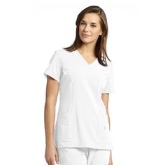 Marvella by White Cross Women's Shaped V-Neck Solid Scrub Top With Pockets | allheart.com #nurse #doctor #hospitalstyle #medicalstyle #scrubs