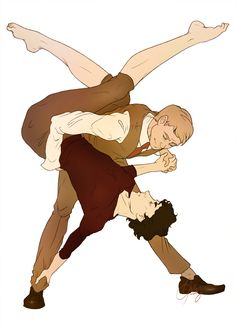 "anotherwellkeptsecret: ""If Sherlock is a danseur then John is a swing dancer because reasons. Lifts! (Edit: Now with correct toes!) """