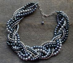 Silver Grey Pearl Necklace Braided Cluster on Silver Chain - Wedding, Bridal, Prom, Birthday Gift. $42.00, via Etsy.