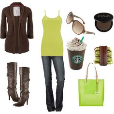 """Brown and Green"" by chelseawate on Polyvore"