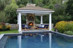 A gazebo is a comfortable place to gather with your friends or family outside of your home. A gazebo may consist of pillars, roof, and furniture. You can attach your gazebo with your house or unattached. Backyard Cabana, Pool Gazebo, Pool Cabana, Garden Gazebo, Backyard Pergola, Pool House Designs, Swimming Pool Designs, Outdoor Gazebos, Outdoor Pool