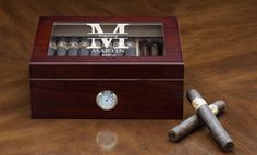 Engraved Cherry Cigar Humidor