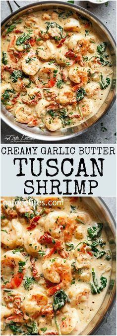 Creamy Garlic Butter Tuscan Shrimp coated in a light and creamy sauce filled with garlic, sun dried tomatoes and spinach! Packed with incredible flavours! | http://cafedelites.com