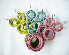 Earrings Crochet  Cotton Spring Fashion  by AliquidTextileJewels, €12.00