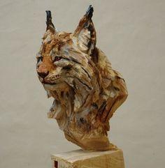 """""""LYNX"""" wooden sculpture by  Jürgen Lingl Rebetez www.absoluteartgallery.com"""