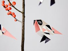 6 Foldingpapers for DIY origamibirds, instruction online / britta manger