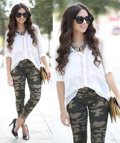 Sunglasses, Camouflage Leggings, Bag, White Blouse, Pumps | Camouflage (by Daniela Ramirez) | LOOKBOOK.nu