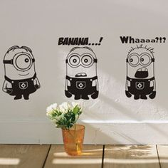 DESPICABLE ME 2 wall stickers Vinyl Art decals room kid decor MINIONS Removable home decoration for children car stickers Wall Stickers Cartoon, Cheap Wall Stickers, Car Stickers, Minion Room Decor, Minions, Minion Drawing, Minion Coloring Pages, Decoration Stickers, Wall Painting Decor