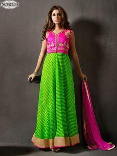 Green & Pink Colour Chiffon & Creap Silk Embroidery Anarkali Salwar Suit