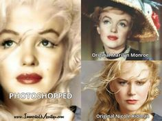 The internet is full of photoshopped pictures of Marilyn. How do you tell which are real and which are fake? And why are photoshopped pictures so harmful both to Marilyn's legacy and to her fans? Most Famous Quotes, Marilyn Monroe, Why People, Nicole Kidman, Look Alike, More Photos, Picture Quotes, Female Bodies, Her Hair