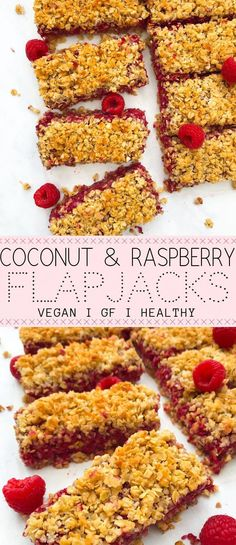 nutritious coconut and raspberry flapjacks are utterly divine! 7 ingredien These nutritious coconut and raspberry flapjacks are utterly divine! -These nutritious coconut and raspberry flapjacks are utterly divine! Healthy Afternoon Snacks, Healthy Vegan Snacks, Healthy Dessert Recipes, Healthy Breakfast Recipes, Gourmet Recipes, Easy Recipes, Vegan Recipes Uk, Healthy Oat Bars, Easy Vegan Breakfast