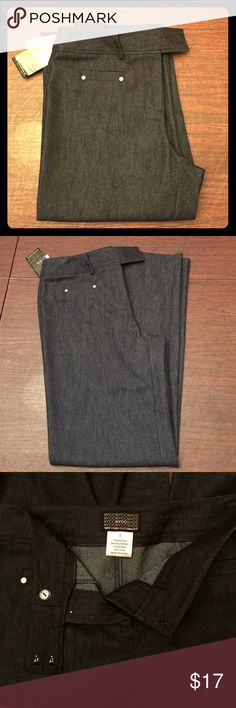 "🔥HP!🔥🆕 NYCC Dark Work Jeans! NWT! Get away w/ wearing jeans to work w/ these fancier, very dark navy jeans (almost black). Bootcut/Wide leg. Size 6. Flat front flap, hook  & button closure. 💠Material: 73% Cotton, 26% Polyester, 1% Spandex! 💠Note: Front pockets decorative only (no pockets). 💠Measurements: Length: 42"", Inseam: 33"", Waist: 15"" flat/30"" full. Pant width @ bottom: 10"" flat.💃Offers Welcome & Bundling Discounts Available!💃 New York Clothing Co. Jeans"