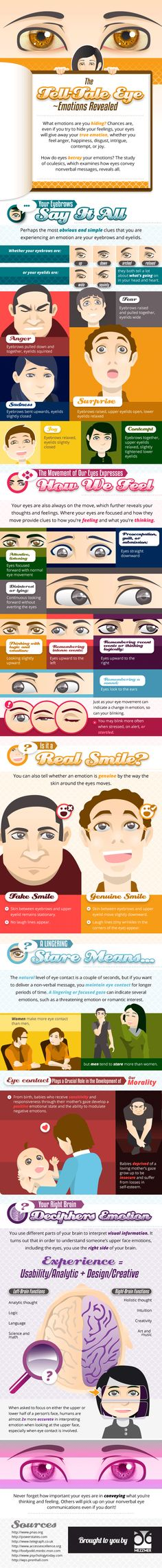 The Tell -Tale Eye ~ Emotions Revealed   #infographic #Emotions #Expressions