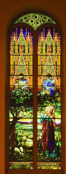 """Tiffany """"Good Shepherd"""" stained glass.  I love churches that have stained glass windows.  The light shinning through them gives such a glow & warm and of course beauty."""