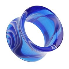 "Marbled Swirl Acrylic Double Flared Ear Gauge Tunnel Plug - 1/2"" (12.5mm) - Blue - Sold as a Pair"