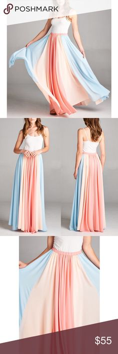 SHARDE color block maxi skirt - CORAL mix Wide Color block Chiffon maxi skirt with elastic waistband. NO TRADE, PRICE FIRM Bellanblue Skirts Maxi