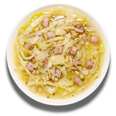 Beans and Ham  Sauté 8 ounces chopped ham and a chopped onion in olive oil until brown. Add 8 cups chicken stock and 3 cups cooked white beans, and bring to a boil. Add 5 cups green cabbage and a few thyme sprigs, and simmer until tender. Garnish: Olive oil, Parmesan.
