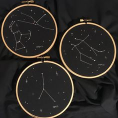 Horoscope embroideries made for two of my friends and me: Taurus and Orion, Cancer, and Gemini.