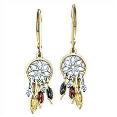 Beautiful, Ben Moss Jewellers Dream Catcher. Garnet, Black Sapphire, Yellow Sapphire & Diamonds, 10k Two-Tone Gold Earrings