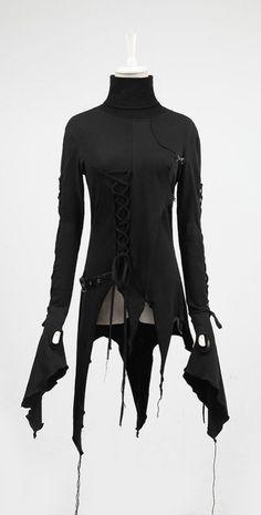 asymmetric black long sleeve tunic <3