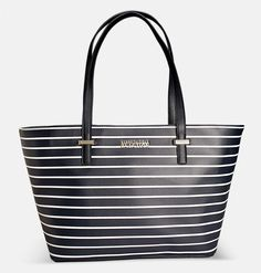 DUPLICATOR STRIPED TOTE FROM THE KENNETH COLE REACTION COLLECTION => Nylon tote bag => Short double straps => Metal logo at the front => Snap closure => 1 inside zip pocket => 2 interior pouch pockets => Man made materials. Imported => Approx. 12 inch L; 10 inch H; 6 inch W; 10 1/2 inch drop