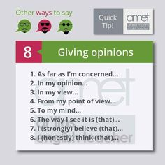 Giving opinions.