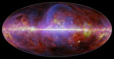 Spectacular Milky Way Maps Show Our Galaxy in New Light - A view of the Milky Way galaxy in microwaves, captured by the European Space Agency's Planck satellite. The different colors correspond to different elements, including gas, dust, and energetic particles.