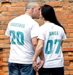 'TOGETHER SINCE' set of 2 Matching Tees for Newlywed Couples Custom Couples Matching T-Shirts, Anniversary or Wedding Gift Idea, for Lovebirds with year on back