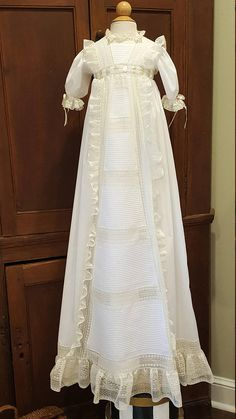 Empire Yoked Christening Gown with Horizontal Pintucked Panel Baptism Dress, Christening Gowns, Beautiful Children, Beautiful Babies, Gown Pictures, Vintage Outfits, Vintage Clothing, Heirloom Sewing, Lace Ruffle