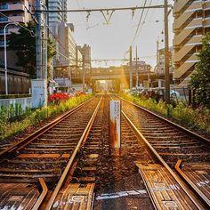 C'est clairement un appel au voyage non ? Quand nous voyons des rails comme ça, on a juste envie d'enfiler nos sac-à-dos et de partir vers l'inconnu !  Et vous ? C'est quoi votre déclencheur-voyage ?  Sinon cette photo a été prise sur la Arakawa Line, la dernière ligne de tramway publique  à #Tokyo.