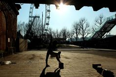Katie being flexible in London