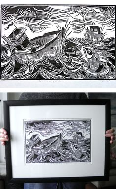 The Great Rescue Of Mr Fish, Woodcut Printmaking By Ben Prints. Click For More Images.
