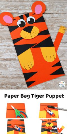 We Love interactive crafts at Arty Crafty Kids and this simple Paper Bag Tiger Puppet craft for kids will have them roaring in no time! Cute Kids Crafts, Animal Crafts For Kids, Craft Activities For Kids, Toddler Crafts, Art For Kids, Craft Ideas, Kid Art, Kids Diy, Preschool Crafts