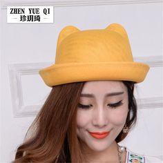 2017 Summer Women Boater Beach Hat Female Cat Ear Casual Panama Hat Lady Brand Classic Straw Linen Sun Hat Women Fedora ZY013