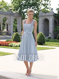 Simple A-Line Square Pleated And Waistband Light Sky Blue Chiffon Tea Length Mother Of The Bride Dresses/Party Dresses MOBD064