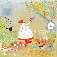Mrs Spotty Wellies watercolour by Louise Rawlings Beauty Illustration, Naive Art, Art Themes, Whimsical Art, Painting Inspiration, All Art, Design Elements, Watercolor Art, Art Projects