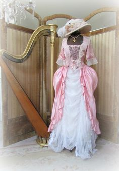 Marie Antoinette dress form and my French Victorian harp