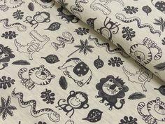 Stoff Blumen - Jersey Tiere, grau - ein Designerstück von KraftStoff-Wiesbaden bei DaWanda