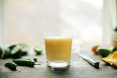 Pisco Sour, three ways - pisco sour / sour de campo (honey + ginger) / Mango-Chili Sour (+ seranno peppers)