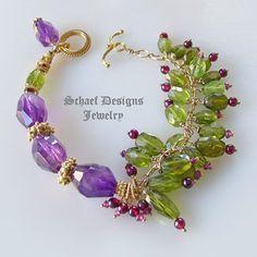 Green plus purple, peridot and amethyst and garnet bracelet