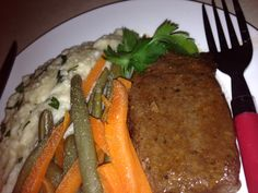 This is my fresh steamed carrot and green beans with rissotto and braised steak